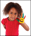Photo of a child with a painted hand